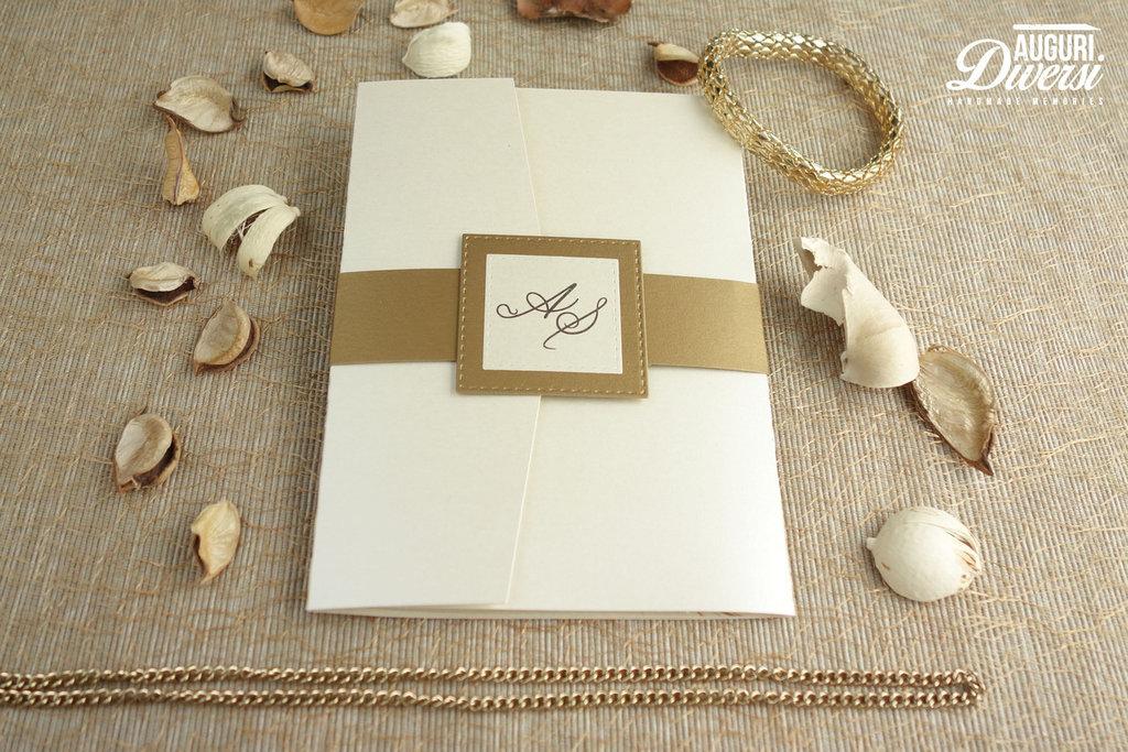Preferenza Partecipazione di matrimonio in elegante carta perlata. Colore Oro  CO77
