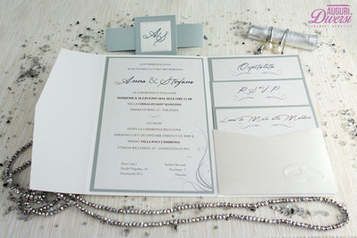 c31037955748 Colore Argento Partecipazione di matrimonio in elegante carta metallizzata  EFFETTO SETA.