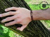 Bracciale uomo braccialetto infinito infinity bronzo pelle intreccio Artigianale