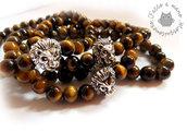 Bracciale uomo perla elastico OCCHIO DI TIGRE tiger eye stone braccialetto surf 6mm