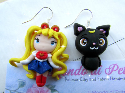 Orecchini Sailor Moon in Fimo