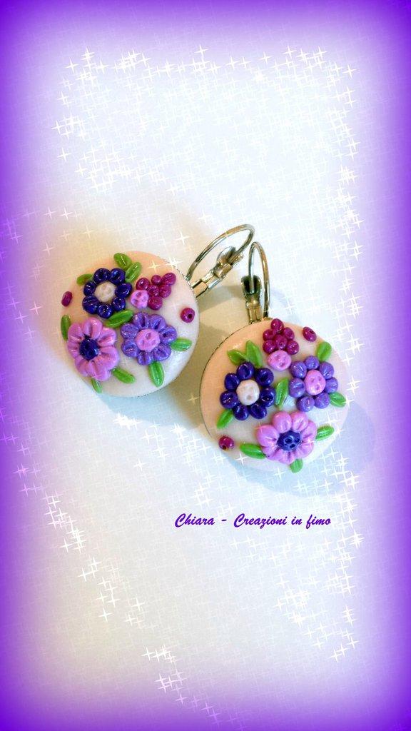 Orecchini in fimo handmade eleganti con fiori in rilievo idee regalo donna idea regalo Festa della mamma
