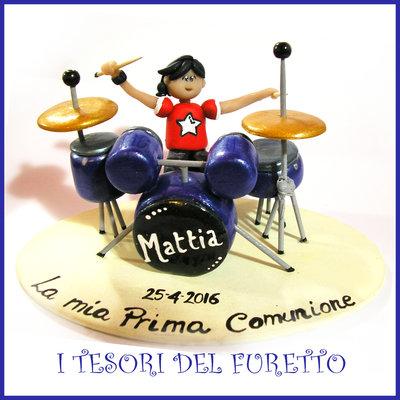 """Cake topper """"Batteria acustica"""" MOd. grande Blu argento idea regalo sopratorta musica Natale comunione cresima compleanno"""