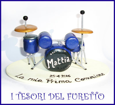 """Cake topper """"Batteria acustica"""" MOd. grande Blu argento SENZA BATTERISTA  idea regalo sopratorta musica Natale comunione cresima compleanno"""
