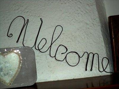 """Scritta """"Welcome""""  in  fil di ferro,  da parete, ferro cotto nero,decorazione casa country shabby"""