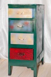 Originale artistico mobiletto multicolor creativa cassettiera