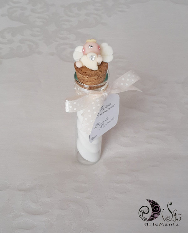 bomboniera provetta in vetro portaconfetti prima comunione angioletto con cuore colore avorio