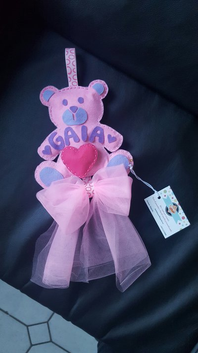 Fiocco nascita orsetto gaia babycake