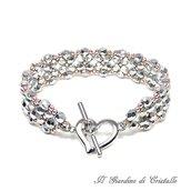 Bracciale a fascia mezzi cristalli argento e perline rosa chiusura cuore fatto a mano - Giacinto