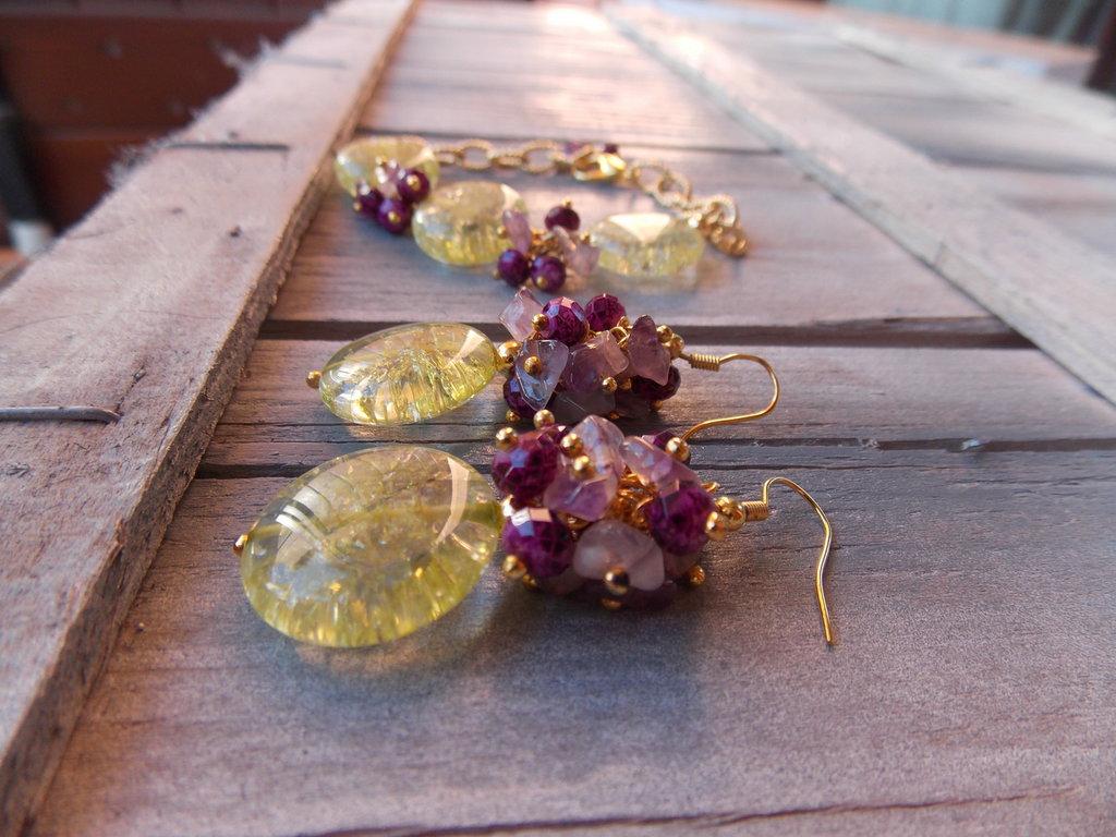 Orecchini giallo e viola