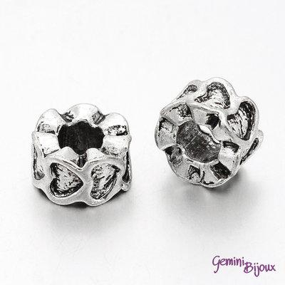 Perla tibetana in alluminio argentata a foro largo, mm 10x6. LH37