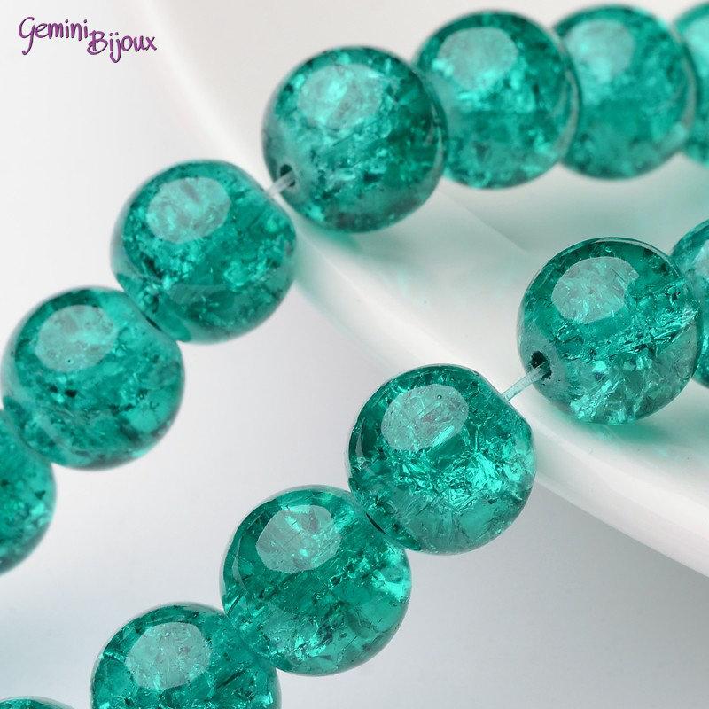 Lotto 10 perle tonde crackle 10mm verde smeraldo