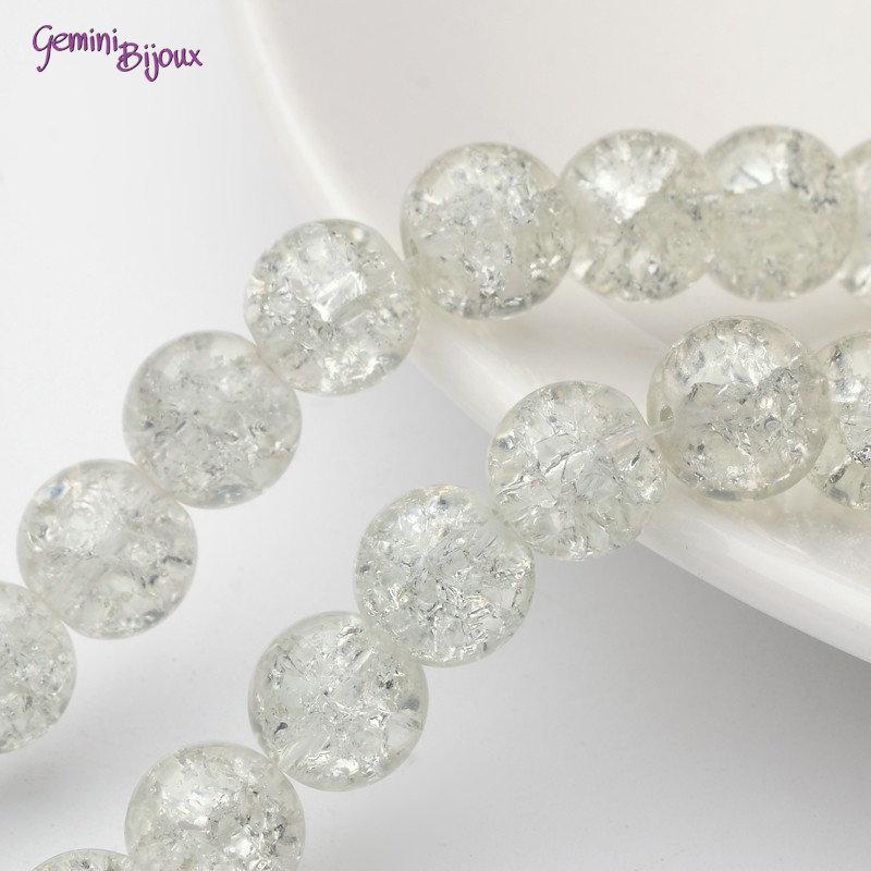 Lotto 10 perle tonde crackle 10mm crystal trasparente