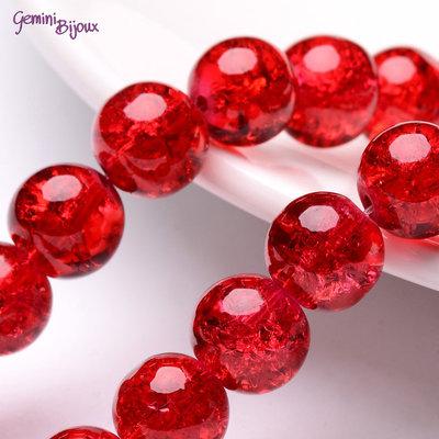 Lotto 10 perle tonde crackle 10mm rosso