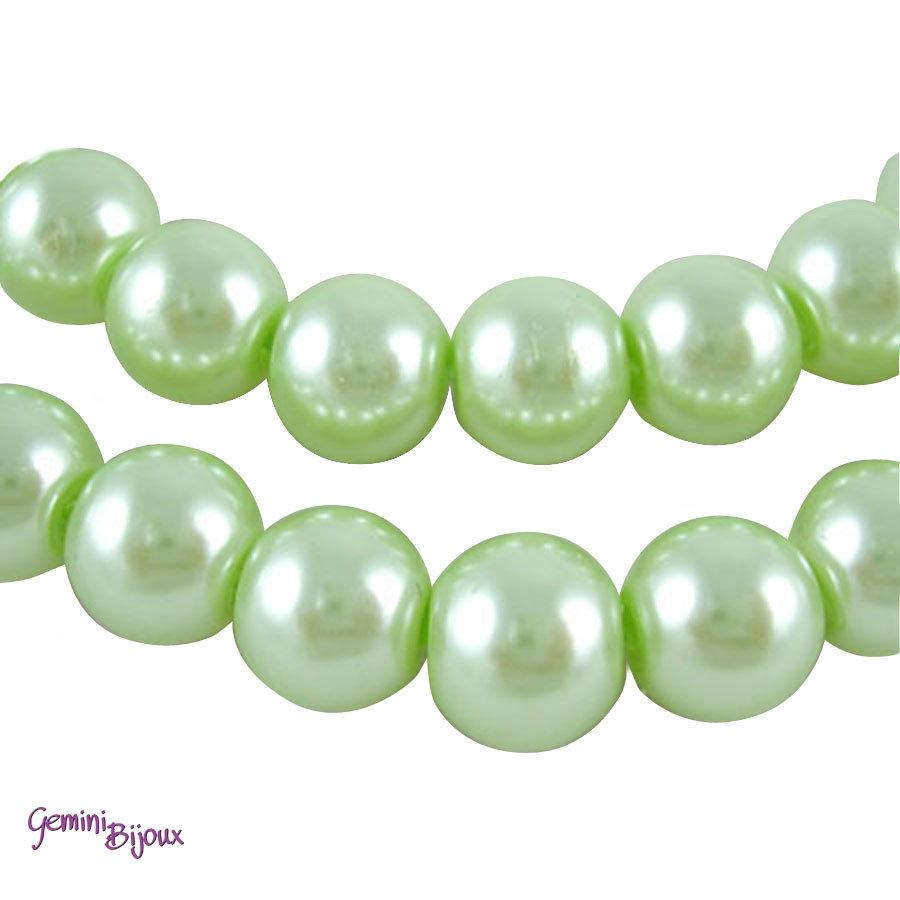 Lotto 20 perle tonde in vetro cerato 8mm verde chiaro