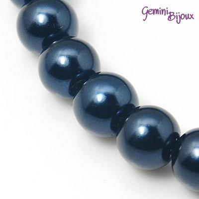 Lotto 20 perle tonde in vetro cerato 8mm blu marino