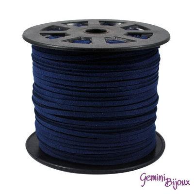 Lotto 1 metro cordino pelle scamosciata 3mm blu di Prussia