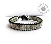 Bracciale da uomo artigianale chan luu perle lunghe in metallo inciso colore argento