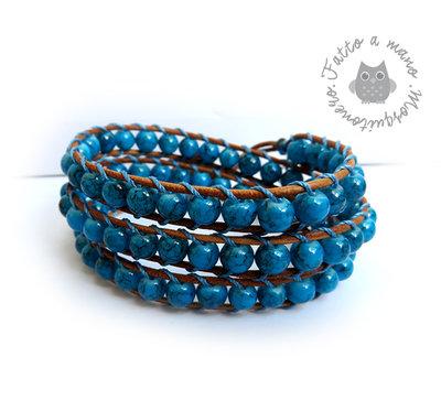 Bracciale Chan Luu Wrap bracelet mychau 3 giri donna pietra Turchese cuoio naturale