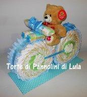 Torta di Pannolini Pampers Moto bicicletta idea regalo nascita battesimo baby shower