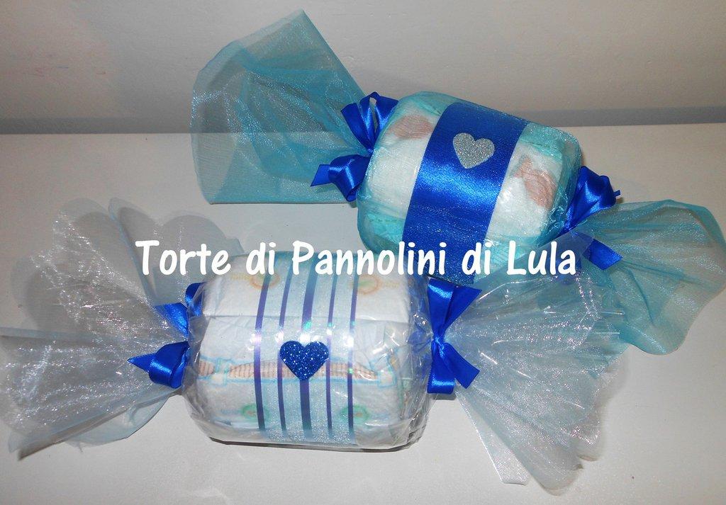 Torta di Pannolini Pampers Caramella + CALZINI- idea regalo, originale ed utile, per nascite battesimi