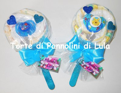 Torta di Pannolini Pampers Lecca Lecca + CIUCCIO - idea regalo, originale ed utile, per nascite, battesimi e compleanni
