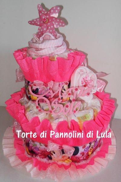 Torta di Pannolini Pampers 3 piani- idea regalo, originale ed utile, per nascite, battesimi e compleanni