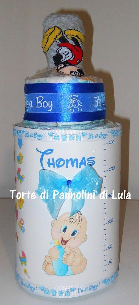 Torta di Pannolini Biberon azzurra maschio Pampers idea regalo, originale ed utile, per nascite, battesimi e compleanni