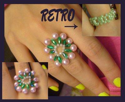 Anello fiore in perle rosa e verdi