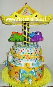 Torta di Pannolini Pampers Giostra- idea regalo, originale ed utile, per nascite, battesimi