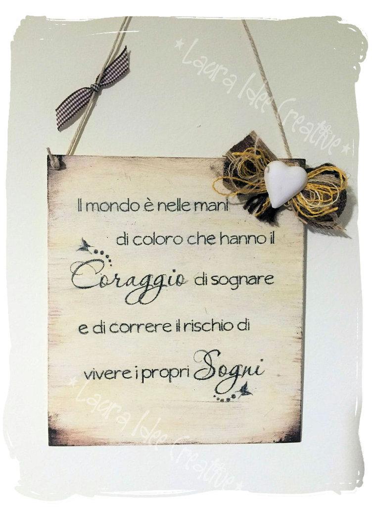 Targa in legno aforisma personalizzabile per la casa e - Scritte in legno shabby ...