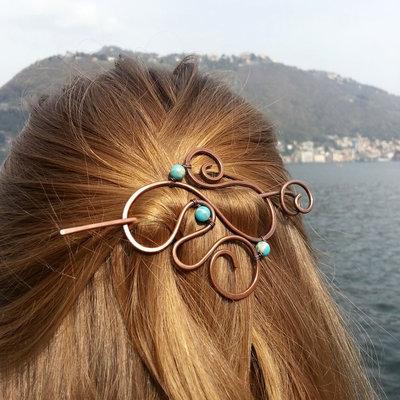 Spilla fermaglio per capelli con spirali Fermacapelli blu Accessori moda Accessori donna Regalo donna Capelli lunghi