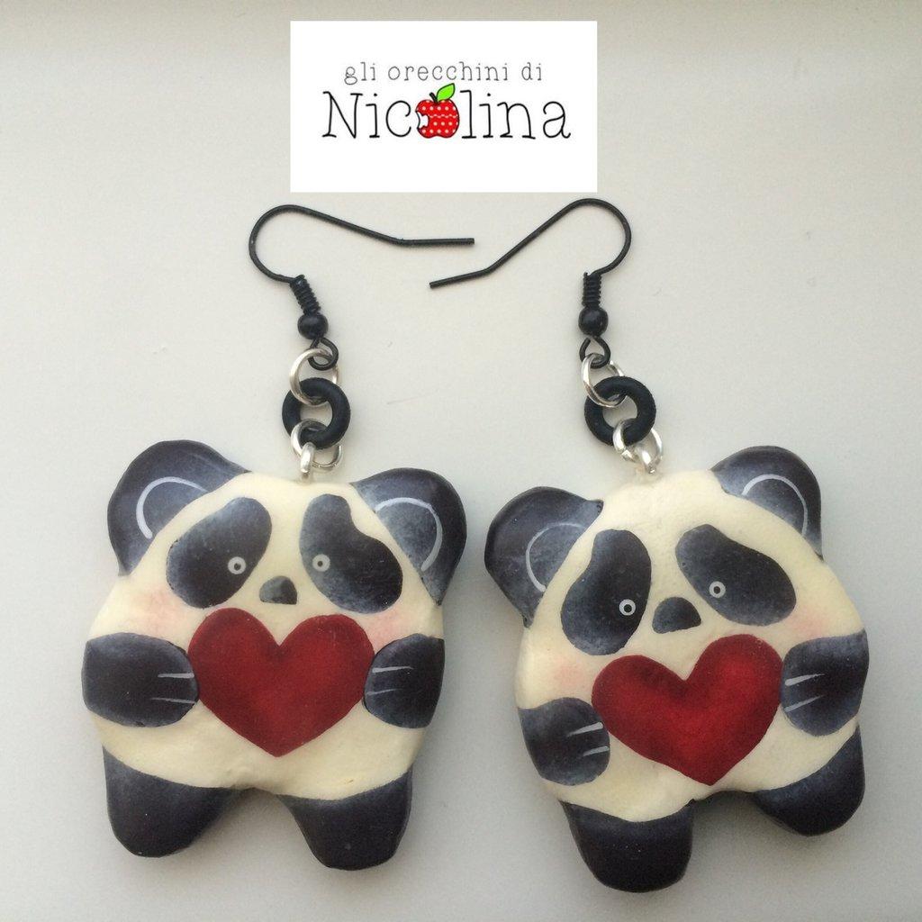 Orecchini panda con cuore