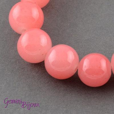 Lotto 20 perle tonde in vetro imitazione giada 8mm Light Coral