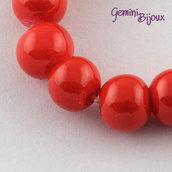 Lotto 20 perle tonde in vetro cerato 6mm rosso