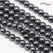 Lotto 20 perle tonde in vetro cerato 6mm grigio scuro