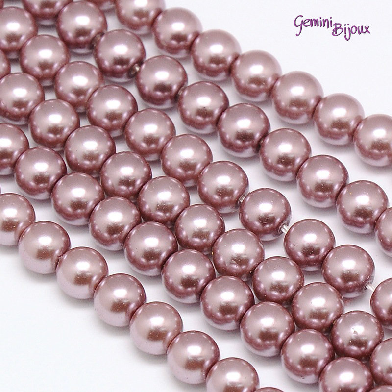 Lotto 20 perle tonde in vetro cerato 6mm RosyBrown