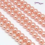 Lotto 20 perle tonde in vetro cerato 6mm Light Salmon