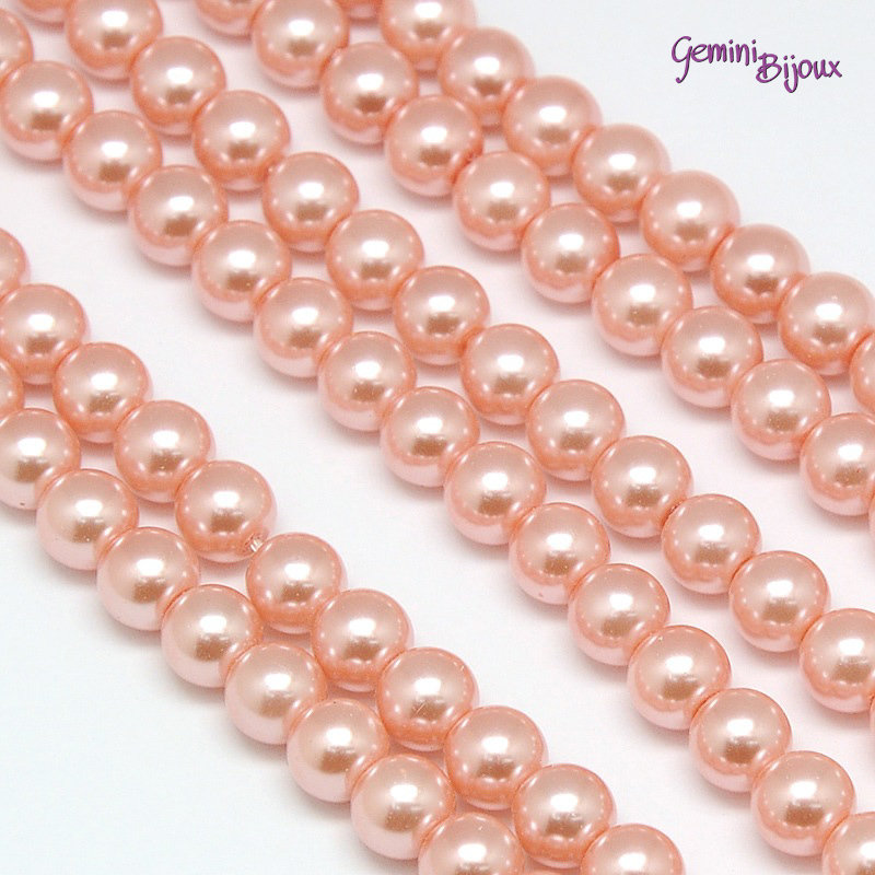 Lotto 20 perle tonde in vetro cerato 6mm Light Salmon
