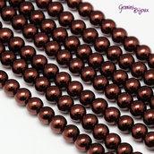 Lotto 20 perle tonde in vetro cerato 6mm Marrone