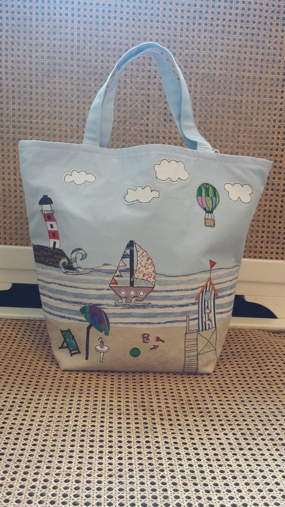 Borse Cotone Mare : Borsa da mare in cotone azzurro donna borse di