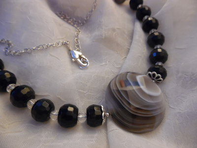 Collier argento 925 agata botswana ossidiana nera cristallo rocca