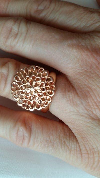 Anello placcato oro rosa - misura regolabile