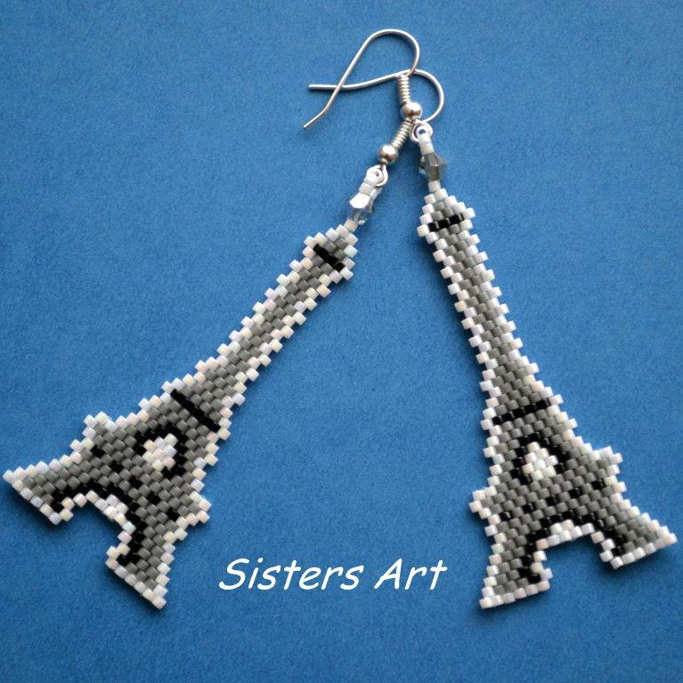"""Orecchini """"Torre Eiffel"""" realizzati con perline Miyuki delica"""
