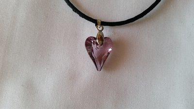 Ciondolo in cristallo SW a forma di cuore color antique pink