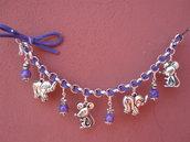 Bracciale catena + nastro camoscio viola con pendenti in argento tibetano