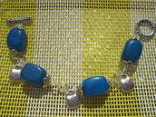 Bracciale pietre rettangolari azzurre e borsette in argento tibetano