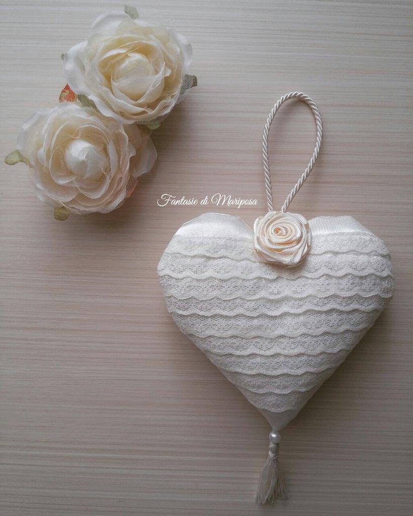 Cuore decorativo shabby chic - Bomboniera- Segnaposto-Idea regalo
