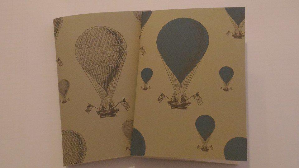 """Quaderno 7Nodi Vintage """"Avio"""" mongolfiere. Stampa in bianco e nero o a colori."""