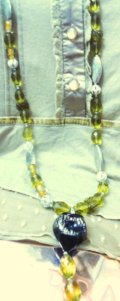 Collana vetro e cristallo ambra/ Amber glass crystal necklace